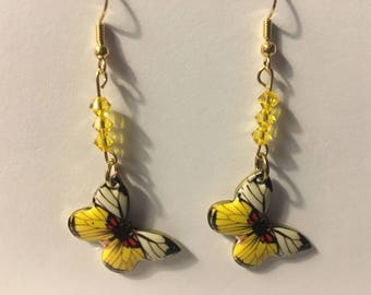Yellow butterfly with yellow Swarovski crystal earrings