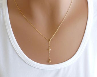 Gold Y Necklace, Delicate Necklace, Dainty Lariat Necklace, Gold Necklace, Minimalist Necklace, Dainty Gold Necklace, KRcollection