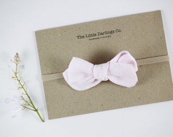 Hand Tied Hair Bow 100% Linen Small Pinwheel in Pink // Clip or Band