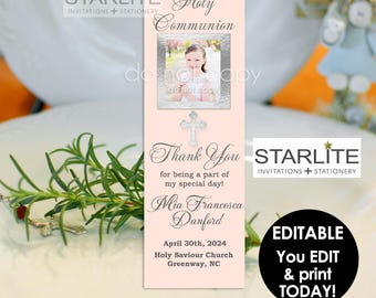 First Communion Favors for Girls, First Communion Favor Bookmarks Printable, Inexpensive Communion Favors, EDITABLE INSTANT DOWNLOAD