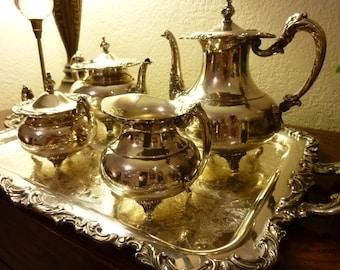 Community Plate (Oneida) 5 PC Silver Tea Service Set/ including Tray Ascot Sheffield 1920s