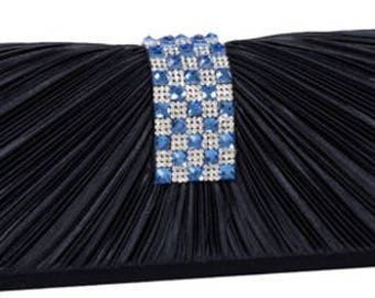 New Navy Pleated Satin with Clear Rhinestone and Ble Crystal Flap  Evening Clutch Bag
