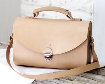 Leather handbag SATCHEL NATURAL