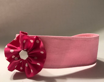 Pink Cotton Baby Headband with Flower