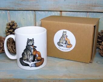 Wolf and Fox Couple Illustration Mug