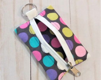 Tiny pouch, key ring coin pouch, key ring zippered pouch,  earbud pouch, money pouch, keychain pouch, key chain pouch,