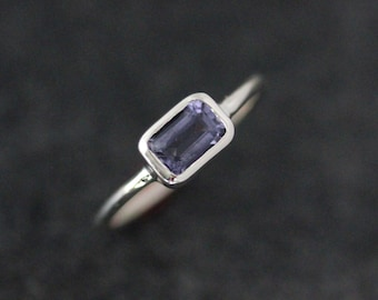 Water Sapphire Ring, Iolite Rectangular Octagon Stacking Rings,  Periwinkle Blue Gemstone Solitaire Ring with Low Profile