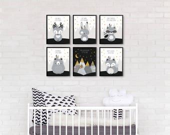 Woodland nursery, Monochrome nursery, Print set, Nursery printable set of 6, Forest friends, Deer, Raccoon, Bear, Fox, Baby gift, Printable