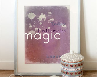 PRINTABLE Art, Printable Quote (INSTANT DOWNLOAD) Art & creativity quotes, inspirational, artsy, purple, paint splatters, gift under 10.