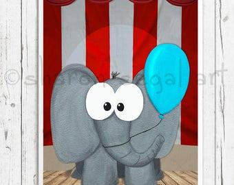 Elephant painting, Elmer's first trip to the circus. Elephant with blue ballon, Kids decor, Kids Bedroom, Nursery