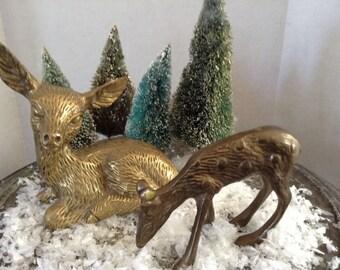 Vintage Brass Momma & Baby Deer Figures