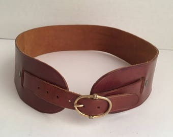 2 inch wide brown leather corset belt 70s to 80s vintage costume cosplay