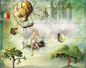 Easter Balloon Ride Digital Collage Greeting Card (Suitable for Framing)