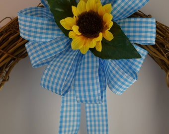 Blue Gingham Sunflower Bow, Gingham Bow, Sunflower Bow, Summer Bow, Blue and White Bow, Wreath Bow, Basket Bow, Decorative Bow