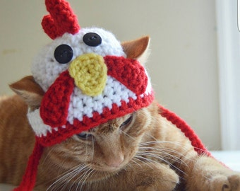 Rooster Hat for Cats, Rooster Cat Hat, Rooster Cat Costume, Rooster Costume for Cats, Rooster Dog Hat, Rooster Hat for Dogs