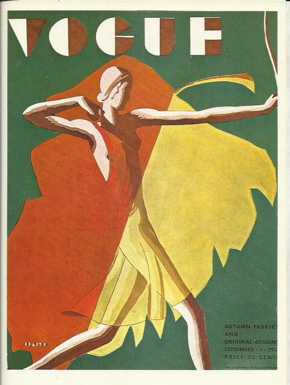 Vogue magazine cover 1932 lady archer archery bow arrow for Magazine deco