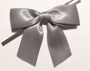 12 SILVER GRAY Pre-made Bow Embellishments
