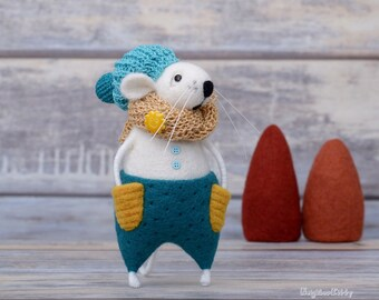 Needle felted Mr Mouse, Birthday gift, Room decor, Wool animal, Handmade felt toy, Soft doll, Mouse lovers, Little white mice, Teal hat