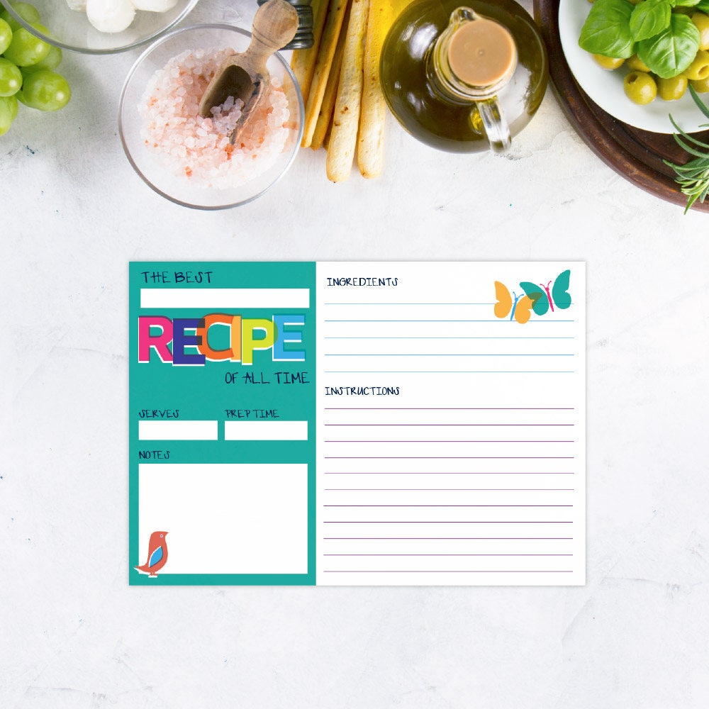 Recipe card set kids recipe cards bridal shower recipe cards this is a digital file forumfinder Choice Image