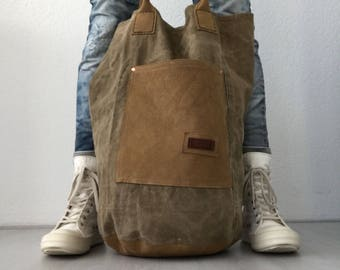Leather and canvas bucket bag