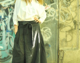 Black Long Loose Linen Skirt Oversized Summer Maxi Skirt with Pockets and Belt / EXPRESS SHIPPING / MD 10076
