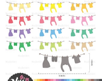 30 Colors Hanging Clothes Line Clipart - Instant Download
