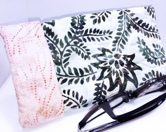 Wide Sunglasses Case, glasses pouch, Quilted Glasses Case, Hidden Magnetic Snap, Roomy Glasses Case