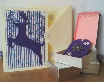 Handmade purple felt Reindeer Christmas card and matching gift tag