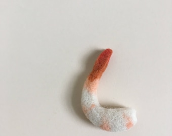 Needle Felted Shrimp. Felted Shrimp Magnet. Shrimp Magnet. Magnet. Fridge Art.