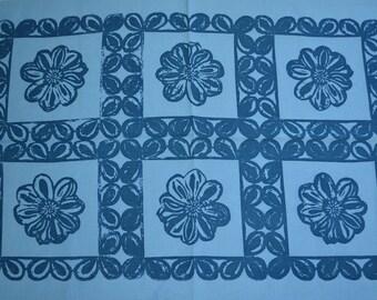 Dahlia Tile Tea Towel