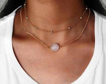 Stone necklace etsy aloadofball Gallery