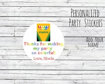 Personalized Art Crayons Party Favor Tags Masterpiece Artist Art Party Favor Birthday Party Favors Goodie Bag Thank You Tags Stickers Label