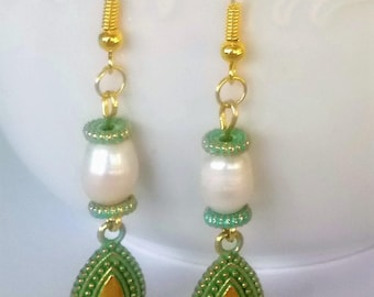 Earrings with freshwater pearl Green earrings with patina