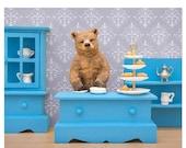 30% OFF SALE Tea loving grizzly bear diorama art print: Bear Necessities