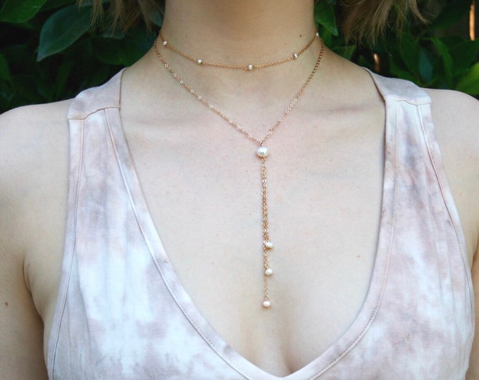 Featured listing image: Freshwater Pearl Drops Necklace - Gold Lariat