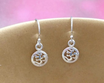 Om Earrings, Ohm Earrings, Yoga Jewelry, Sterling Silver, Zen, Spiritual, Jewelry, Gift for Her, Yoga, Om Symbol, Sanskrit