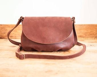 COWHIDE Leather bag // Small Leather handbag // Brown Leather bag // Cross-body leather tote bag FLOR // Small shoulder bag