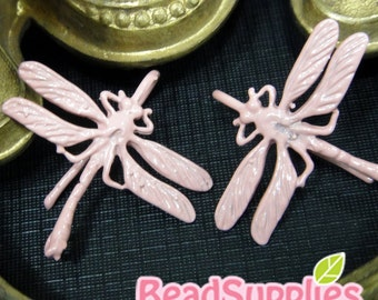 FN-ER-09075B - Color enameled,Dragonfly earrings, dusty pink,2 pairs