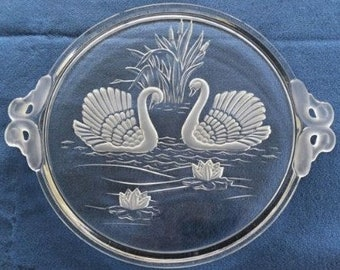 """Mikasa Original Walther-Frosted Crystal Glass 15"""" SWAN CRYSTAL West Germany Cake Serving Platter"""
