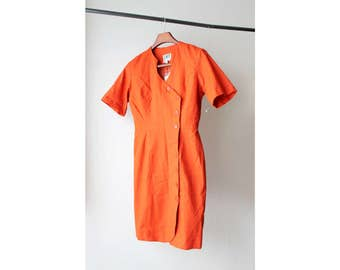 1990s Asymmetrical Orange Day Dress