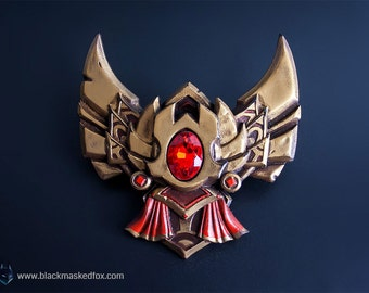 Gold Badge, League of Legends - hand painted with gemstone