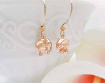 FREE US Ship Little Matte Elephant Earrings Matte Rose Gold Elepant Earrings On Rose Gold Filled Round Ear Wires Lucky Elephant Earrings