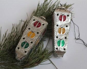 Traffic lights  Set of 2 Soviet Vintage Christmas Tree ornaments Collectible USSR Glass Toys  Christmas decorations Christmas ornaments 28