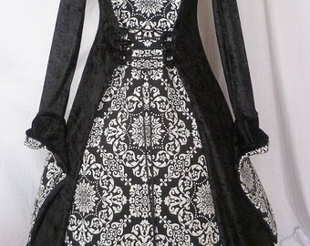 Black and White Gothic Dress Renaissance Hooded Gown,Medieval Gown, Costume,Medieval Dress, Pagan dress Renaissance Clothing Ready to ship