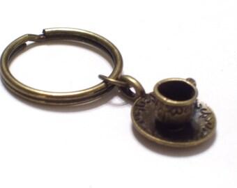Brass Teacup Keychain, Antiqued Brass Tea Cup Key Ring, Tea Lover Key Chain, Bronze Key Holder
