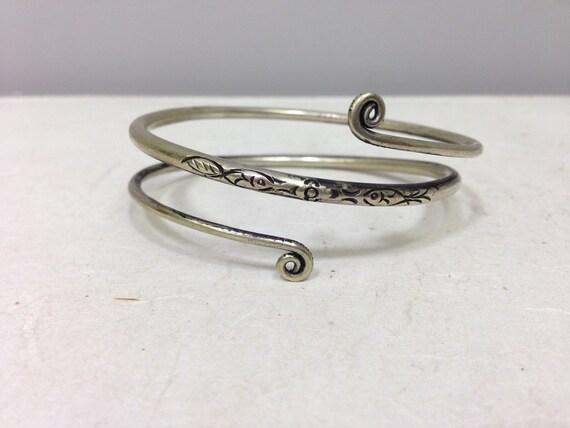 Bracelet Silver Small Arm Wrap Coiled Miao Hmong Silver Bracelet