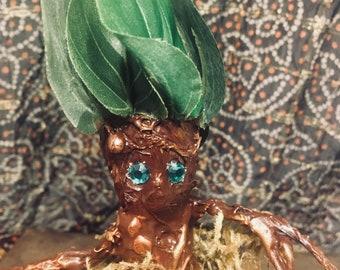 Potted Mandrake Figurine Handcrafted OOAK Handmade Wizard Magic