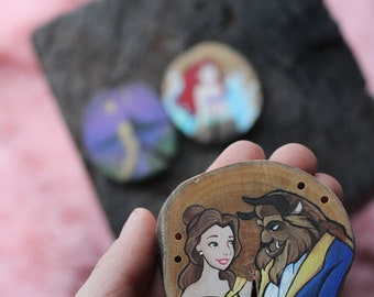 Recycled paint/hand-painted wood buttons / recycled wood / green / and the beast