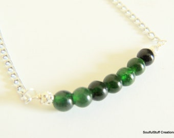 Green Agate Bar Necklace, Gemstone Bar Layering Necklace