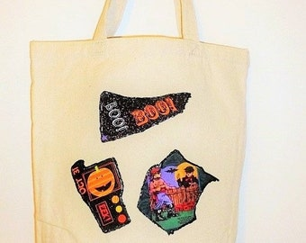 ON SALE Halloween Theme Tote Bag for Candy, Crafts, Shopping, Holiday Gifts